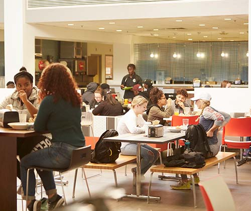Framingham State students eating in the McCarthy Center Dining Commons