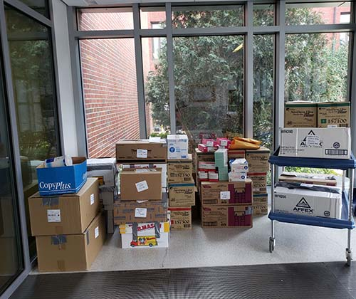 Medical supplies FSU donated to MetroWest Medical Center
