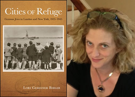 Image of Lori Bihler with the cover of her new book, Cities of Refuge