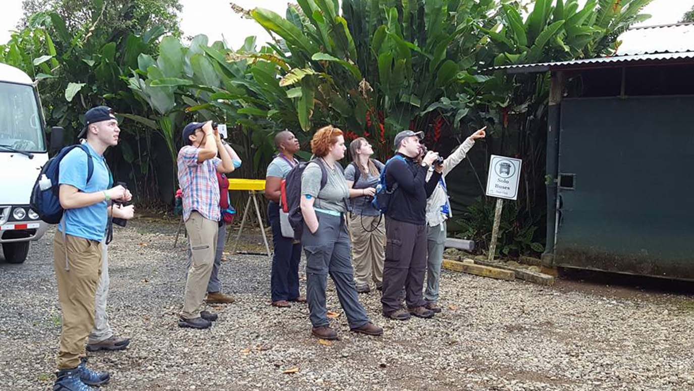 A group of six students uses binoculars to identify birds in Costa Rica