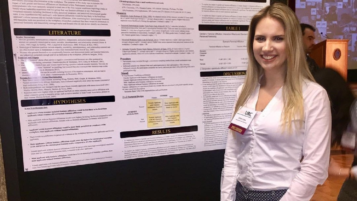 Jillian Lake ('18) presents her research on the associations between gender, feminist affiliation, and hiring practices at the Massachusetts Statewide Undergraduate Research Conference in Amherst, MA.