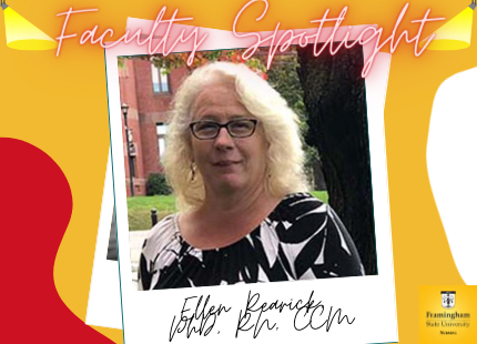 "Photo of Dr. Ellen Rearick on yellow background with red and white designs with text ""Faculty Spotlight"" above in red writing"