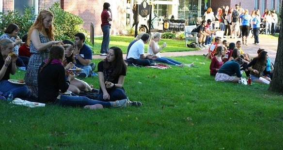 Students on the lawn outside the Athletic Center